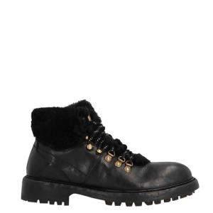 Dolce & Gabbana Black Leather/Wool Cowhide and Merino Hiking Boots Size EU 42