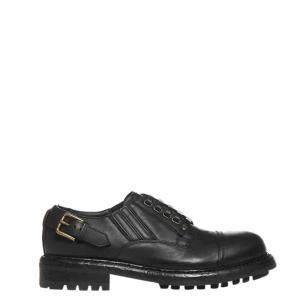 Dolce & Gabbana Black Leather Cowhide slip-on Derby Shoes Size EU 41