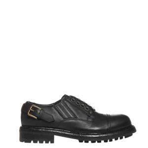 Dolce & Gabbana Black Leather Cowhide slip-on Derby Shoes Size EU 44