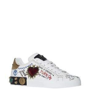 Dolce & Gabbana White Portofino Patch Embroidery Sneakers Size EU 44