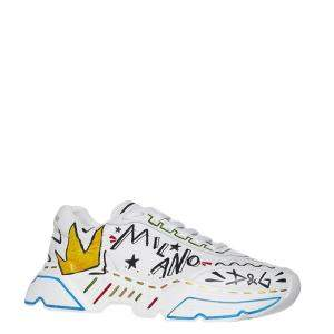 Dolce & Gabbana White Hand Painted Daymaster Sneakers Size EU 43