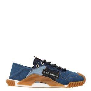 Dolce & Gabbana Blue Denim Patchwork NS1 Sneakers Size EU 41.5