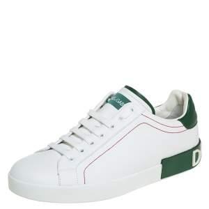 Dolce & Gabbana White/Green Leather Portofino Sneakers Size 43