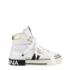Dolce & Gabbana White 2.Zero Custom Leather High Top Sneakers Size EU 41.5