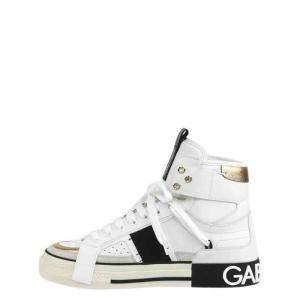 Dolce & Gabbana White 2.Zero Custom Leather High Top Sneakers Size EU 42.5