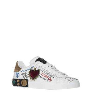 Dolce & Gabbana White Portofino Leather Patch Embroidery Sneakers Size EU 42.5