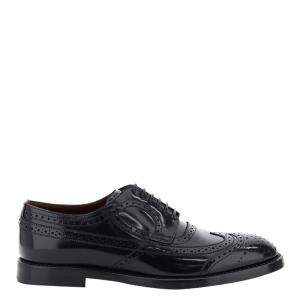 Dolce & Gabbana Black Leather Lace Detail Derby Shoes SizeI T 42