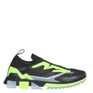 Dolce & Gabbana Black/Green Stretch Jersey Sorrento Sneakers Size IT 44