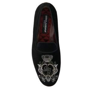 Dolce & Gabbana Black Velvet crown embroidery Slippers Size IT 42