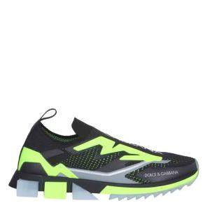 Dolce & Gabbana Black/Green Stretch Jersey Sorrento Sneakers Size IT 43