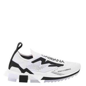 Dolce & Gabbana White/Black Stretch Jersey Sorrento Slip-On Sneakers Size IT 43