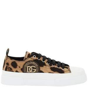Dolce & Gabbana Leopard Print Portofino Low Top Sneakers Size IT 42
