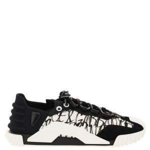 حذاء رياضي دولتشي آند غابانا خامات مختلطة أسود / أبيض بشعار NS1 مقاس إيطالي  43