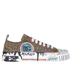 Dolce & Gabbana Portofino Hand-Painted Graffiti Light Sneakers Size IT 43