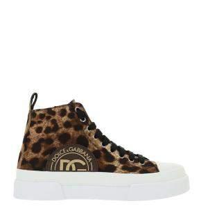 Dolce & Gabbana Brown/White leopard Print Portofino Light Mid-Top Sneakers Size 44 IT