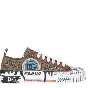 Dolce & Gabbana Brown/Multicolor Hand-painted graffiti Canvas Portofino Light Sneakers Size IT 42