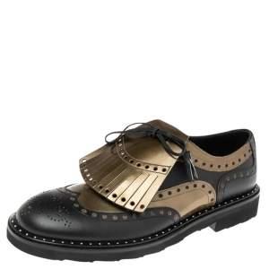 Dolce & Gabbana Black/Gold Brogue Leather Fringe Tassel Oxfords Size 41