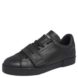 Dolce & Gabbana Black Leather Touch Strap Low Top Sneakers Size 42.5