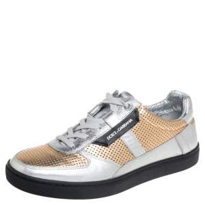 Dolce & Gabbana Gold/Silver Perforated Leather Low Top Sneakers Size 41