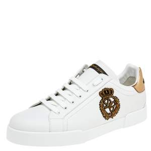 Dolce & Gabbana White Leather Portofino Lace Up Sneakers Size 46