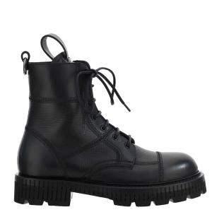 Dolce & Gabbana Black Leather combat Boots Size IT 44