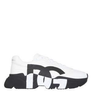 Dolce & Gabbana White/Black Leather DG Logo Sneakers Size IT 44