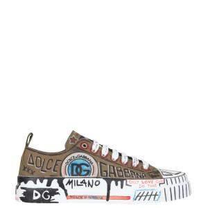 Dolce & Gabbana Green Hand-painted graffiti canvas Portofino Light Sneaker Size IT 43.5