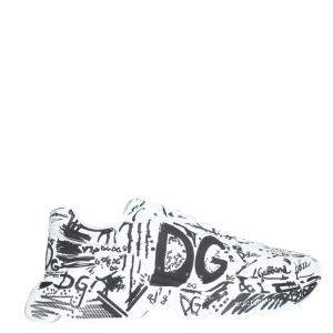 Dolce & Gabbana White/Black Hand-painted graffiti Calfskin Nappa Daymaster Sneakers Size IT 41