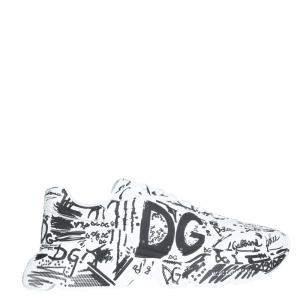 Dolce & Gabbana White/Black Hand-painted graffiti Calfskin Nappa Daymaster Sneakers Size IT 42