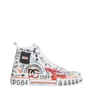 Dolce & Gabbana Multicolour  Hand-painted graffiti canvas Portofino Light Mid Top Sneakers Size IT 43
