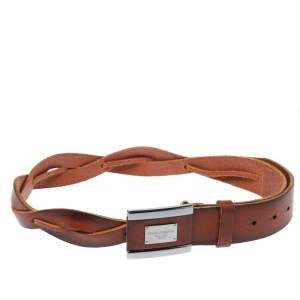 Dolce & Gabbana Brown Braided Leather Belt Size 85