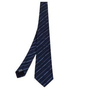Dolce & Gabbana Navy Blue Logo Striped Silk Tie