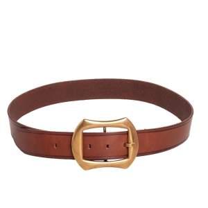 Dolce & Gabbana Brown Leather Buckle Belt 90 CM