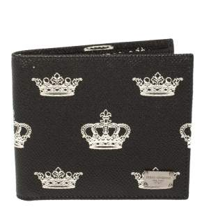 Dolce & Gabbana Black/White Crown Print Leather Bifold Wallet
