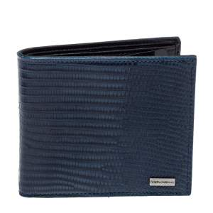 Dolce & Gabbana Navy Blue/Black Lizard Embossed Leather Bifold Wallet