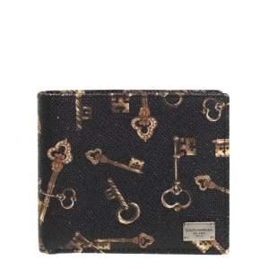 Dolce & Gabbana Black Key Print Leather Bifold Wallet
