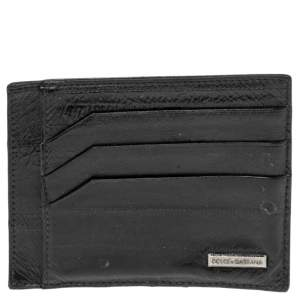 Dolce & Gabbanaa Black Eel and Leather Card Holder