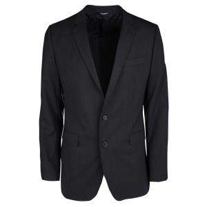 Dolce & Gabbana Martini Black Wool Tailored Two Button Blazer XL