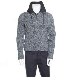 Dolce & Gabbana Grey Melange Wool Quilted Vest Underlay Zip Front Hooded Jacket S