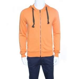 Dolce & Gabbana Orange Zip Front Hoodie XS