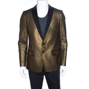 Dolce & Gabbana Gold Textured Contrast Lapel Detail Tailored Blazer L