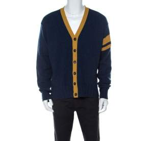 Dolce & Gabbana Blue Wool V-Neck Stripe Detail Cardigan XXL