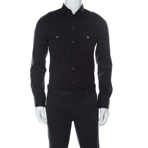 Dolce & Gabbana Black Cotton Blend Full Sleeve Brad Shirt M