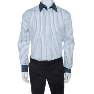 Dolce & Gabbana White Striped Cotton Contrast Collar Gold Shirt XL