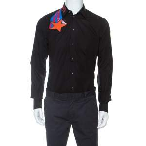 Dolce & Gabbana Black Cotton Embroidered And Embellished Gold Shirt M
