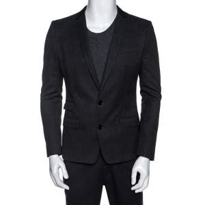 Dolce & Gabbana Dark Grey Cotton Two Buttoned Blazer S