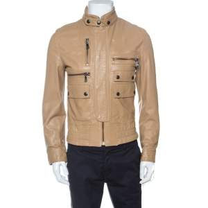 Dolce & Gabbana Brown Leather Bomber Jacket S