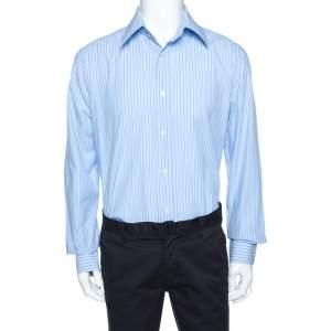 قميص دولتشي أند غابانا أكمام طويلة قطن مخطط ثنائي اللون XXL