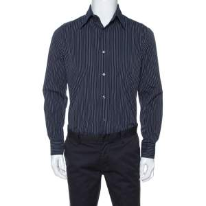 Dolce & Gabbana Navy Blue Striped Cotton Tailored Shirt M