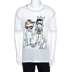 Dolce & Gabbana White Designers & Pets Print Cotton Silk T-Shirt XS